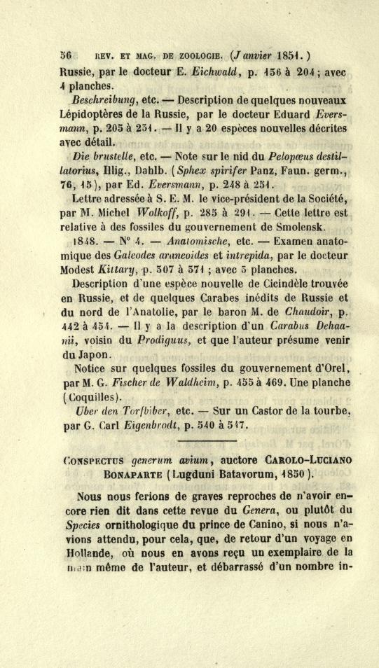 Conspectus Generum Avium, Auctore Carolo-Luciano Bonaparte (Lugduni Batavorum, 1850)