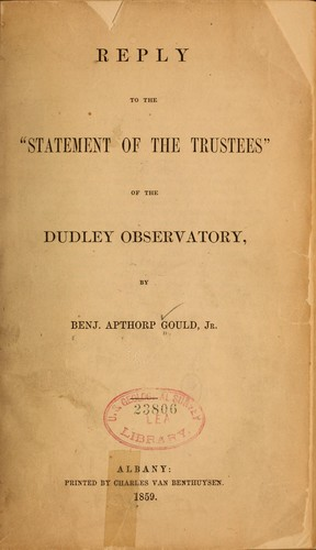 "Reply to the ""Statement of the trustees"" of the Dudley Observatory"