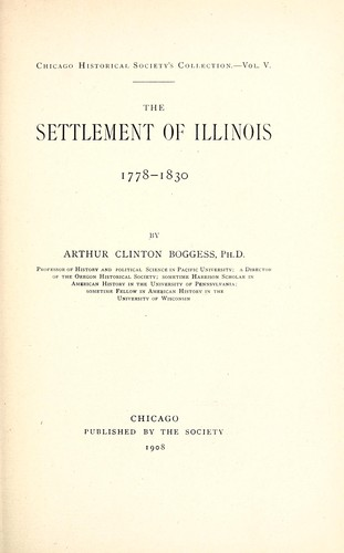 Download The settlement of Illinois, 1778-1830