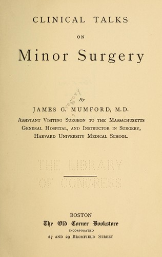 Clinical talks on minor surgery by Mumford, James Gregory
