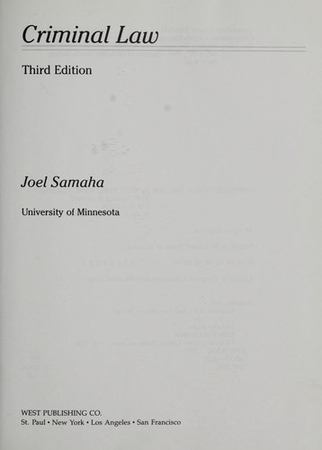 Criminal law by Joel Samaha